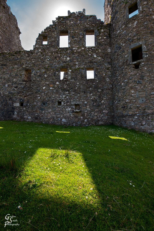 ruined castle with empty windows