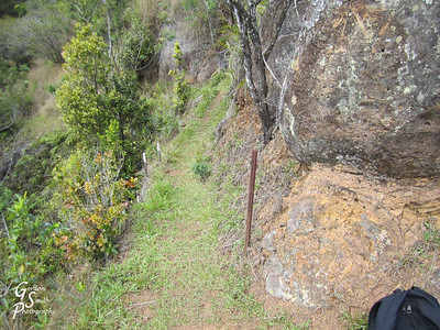 Poomau ditch trail run along the side of the mountain as the valley drops below and to your left.