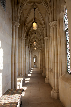 The National Cathedral in Washington DC has so many architectural wonders, it's a pleasure to look around in any direction (especially the ceiling).  This hallway in the upper gallery caught my attention.