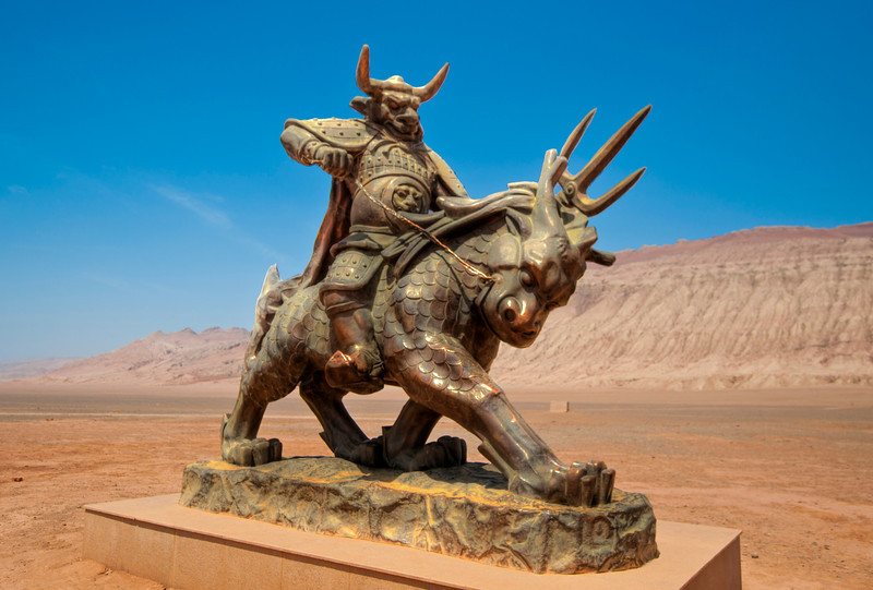 "Bull-demon King at Flaming Mountain in Turpan China<br /> <br /> To read the legend check   <a href=""http://sillymonkeyphoto.com"">http://sillymonkeyphoto.com</a>"