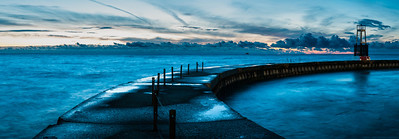 27 Oct 2012 : I hadn't been to North Avenue beach in Chicago for some time, but went to try to catch the sunrise a few weeks back.  The sunrise was not spectacular, but the cloud formations on the horizon were pretty neat.  This was a 6 shot panorama stiched in Photoshop.