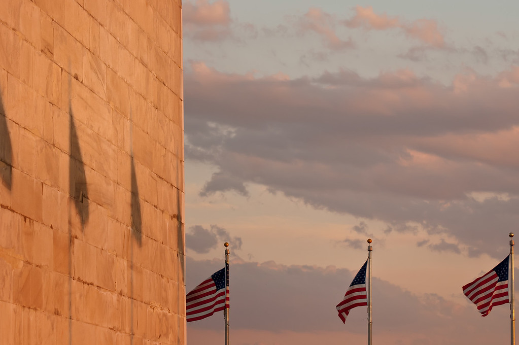 16/8/11 : Washington monument in the evening light.  I thought the shadows of the flags made quite a nice subject on the wall of the great monument.