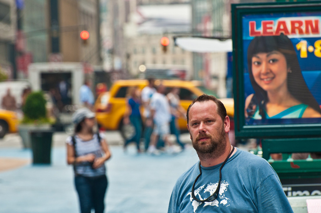 08/22/11 : So this is Time Square.  My partner in crime on our whirlwind journey through NYC.