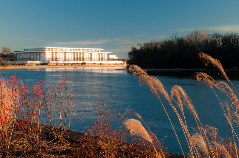 Kennedy Center from Georgetown waterfront on a sunny, brisk December afternoon.