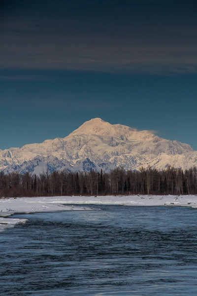 2.29.16: Denali, as seen from the shore of the Susitna River on a glorious mid-winters day.