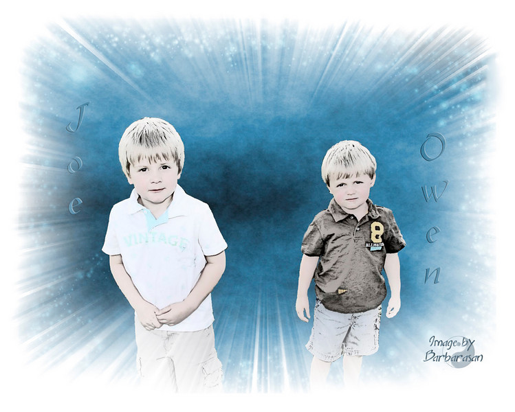 I'm really excited about today's daily. This is Joe and Owen as you can see. Two delightful and unique little boys, brothers, and couldn't be more different. Never a dull moment around their house. Well, anyway I have been working on this photo off and on now for about 6 months and I finally have it just as I had envisioned. Thanks to everyone for the positive comments on previous photos.