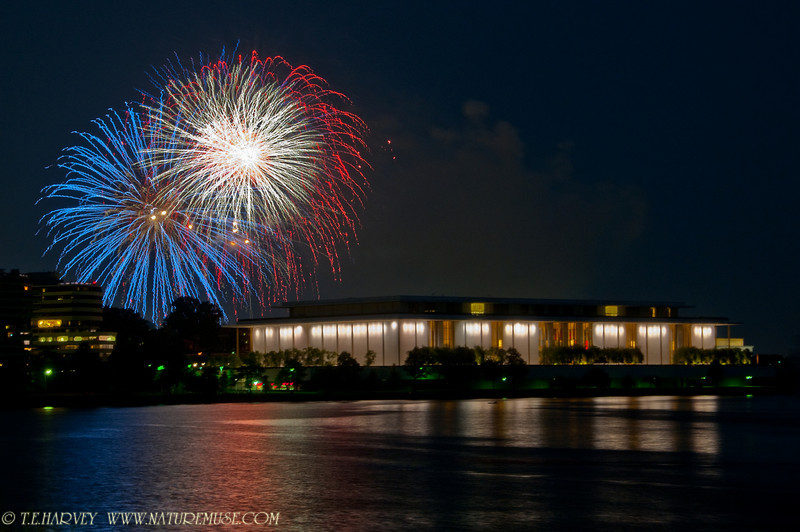 July 4th Fireworks-Washington Monument background-Kennedy Center-Potomac River foreground-Washington, D.C.