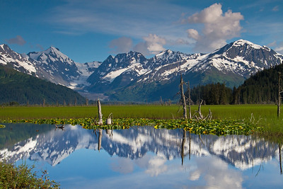 07.15.15: I have driven by this location and shot many a picture here but it was always too windy for a reflection so on a calm summer afternoon I mad the 60 mile drive from my house and was rewarded with this view of Carpathian Peak and Skookum Glacier.