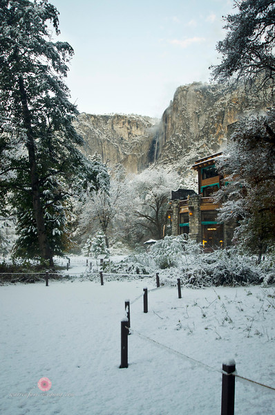 November 11, 2011<br /> Yosemite Falls with The Ahwahnee Hotel.
