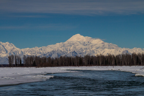02.29.16: Denali, as seen from the shore of the Susitna River in Talkeetna on an absolutely beautiful mid-winters day.