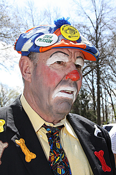 "Doing something different here. This was taken last Spring. This makes me wonder, ""Are all clowns grumpy."""