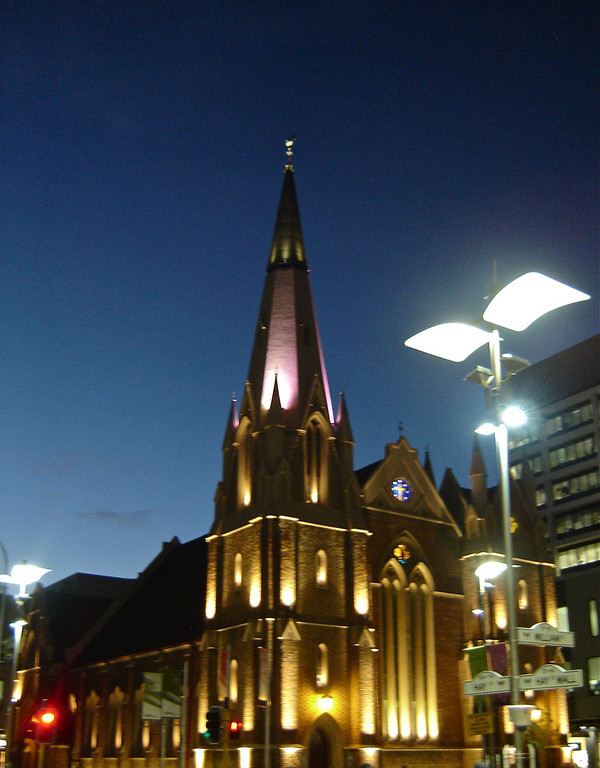 """Night  Lights""<br /> <br /> A quick point and shoot of  Wesley Church, Perth (Western Australia)<br /> <br /> <br /> ""A dreamer is one who can only find his way by moonlight, and his punishment is that he sees the dawn before the rest of the world.""~ Oscar Wilde~"