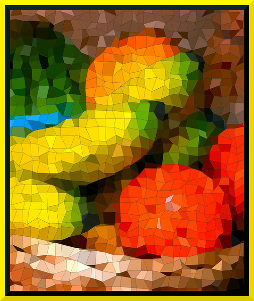 """""""Fruit for Thought""""<br /> <br /> <br /> <br /> <br /> A fruit basket shot with a mosaic effect.<br /> <br /> Men give me some credit for genius. All the genius I have lies in this: When I have a subject in hand, I study it profoundly. Day and night it is before me. I explore it in all its bearings. My mind becomes pervaded with it. Then the effort which I make is what the people call the fruit of genius. It is the fruit of labor and thought.~Alexander Hamilton~"""