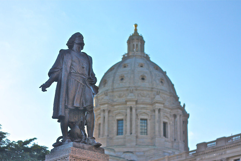 """Columbus""<br /> <br /> Columbus Statue at St.Paul,MN Capitol Building.<br /> <br /> No one should fear to undertake any task in the name of our Saviour, if it is just and if the intention is purely for His holy service.~Christopher Columbus"
