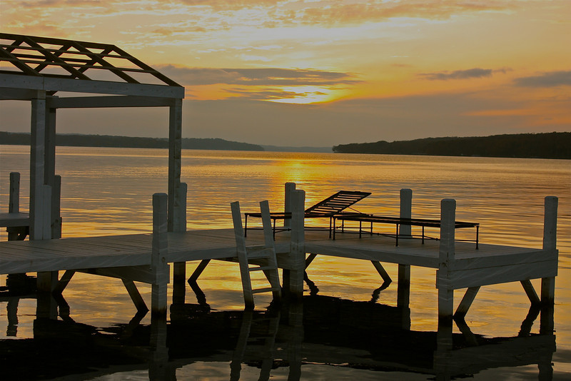 """Sunset on the dock""<br /> <br /> <br /> ""How strange this fear of death is! We are never frightened at a sunset.""<br /> ~ George MacDonald~"