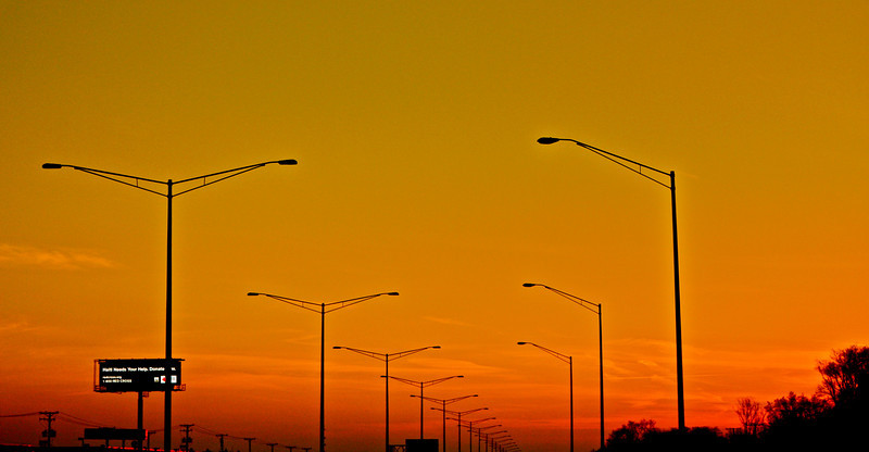 """""""Street Lights""""<br /> <br /> <br /> Some times traffic jam on highway lets you enjoy evening colors and take a quick shot :-)<br /> <br /> <br /> <br /> """"The stars are the street lights of eternity."""""""