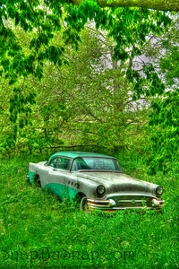 Old Car in HDR  Here is a clear lesson why you always keep your camera with you.  My wife and I were on a drive in the country when we came on this car.  With perfectly green spring foliage surrounding it, we had to stop and snap a few pictures.