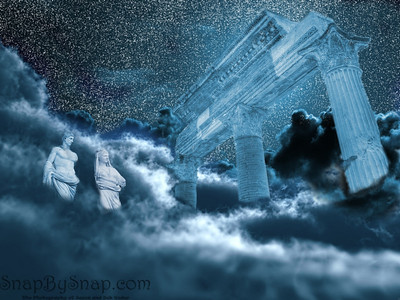 I thought that I would try some digital editing.  I combined some pictures of clouds together with a few images from Pompeii, Italy and a digitally made starry background.  It does not have a very high resolution but it was a neat experiment.