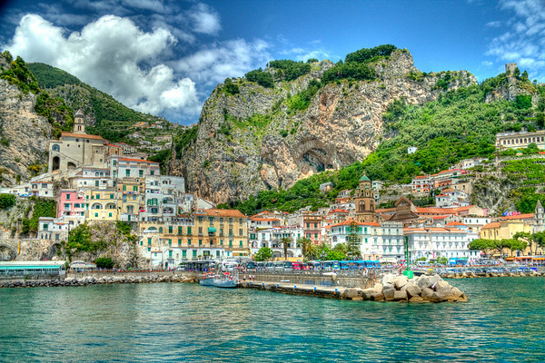 HDR image of the village of Amalfi in Italy.  This small village nestled between the Mediterranean sea and the coastal mountains is a tiny jewel.  My visit there was all to short.  I cannot wait to get back and explore it some more.  To see more images of the Amalfi coast, follow this link: http://snapbysnap.com/Travel/Amalfi-Coast-Italy/13099103_rKxuZ#949607128_gc2xY