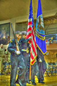 Naval Color Guard.  Sea Cadets of Naval Operation Support Center Indianapolis parade the colors for the retirement ceremony of ITC Robert Smith.  This image is treated to create the effect of coming from a Norman Rockwell painting.