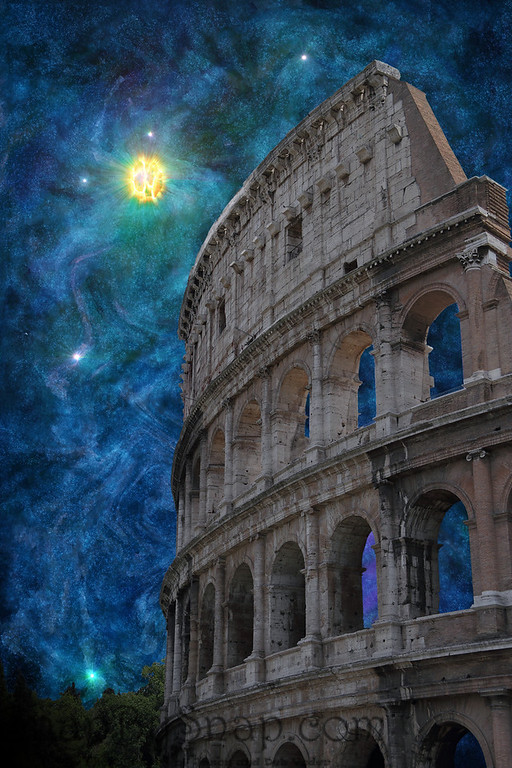 Surreal image of the coliseum with a fantasy night sky.