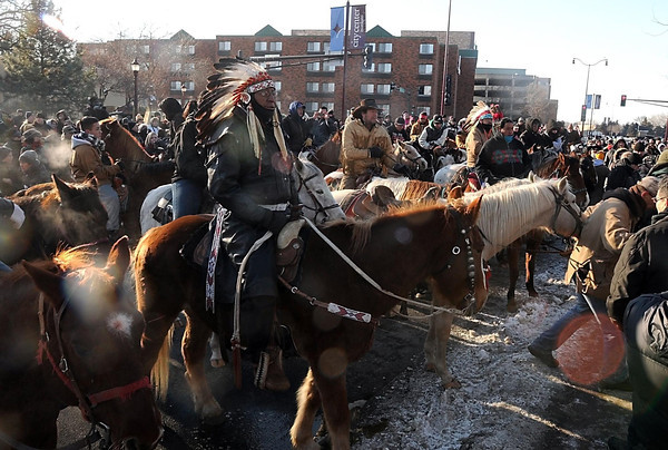 Dakota riders gather at Reconciliation Park to commemorate the 150th anniversary of the hanging of 38 Dakota in Mankato.