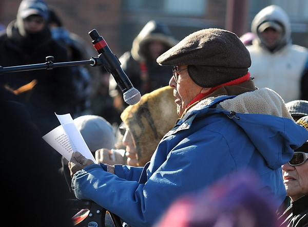 Sidney Byrd, Dakota/Lakota elder from Flandreau, S.D., read the names of the 38 men in the Dakota language. Byrd's great-grandfather was among the 265 Dakota originally sentenced to death who were given reprieves by Abraham Lincoln.