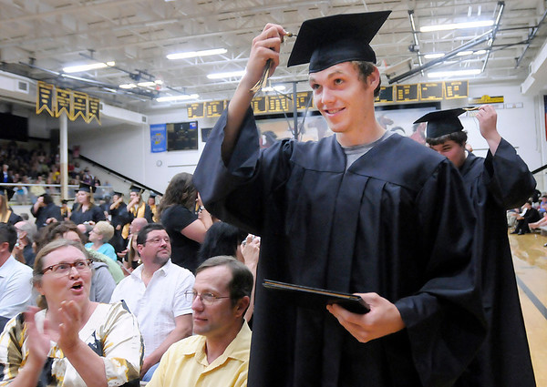 Dalen Beck turns his tassel during Daleville's graduation on Friday.