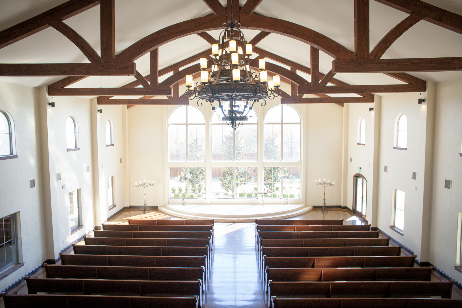 areal shot of an empty chapel before a wedding at the Chapel at Ana Villa