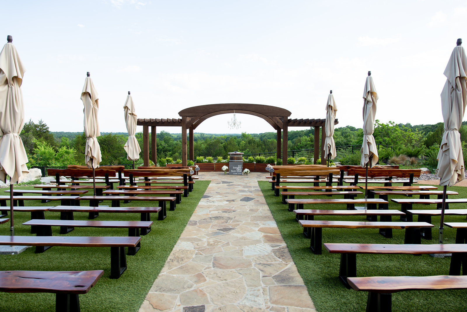 ceremony area at Stone Crest Event venue overlooking woodland area