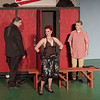 "Mark Maynard | for The Herald Bulletin<br /> Mr. Applegate (Sean Smith) introduces Lola (LIz Justice) to Joe (Brandon Dubois) in ""Damn Yankees."""