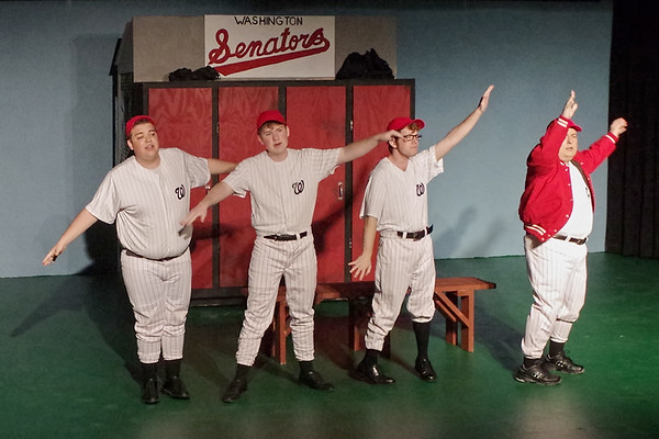 "Mark Maynard | for The Herald Bulletin<br /> Washington Senators players and their Manager explain in song that, even if they do not have the greatest record, they still have ""miles and miles of heart."""