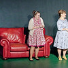 """Mark Maynard   for The Herald Bulletin<br /> As her friends Sister (Sara Fields) and Doris (Angela Gick) look on with giddy excitement, Meg Boyd (Karen Sipes) talks with her new roomer, Washington Senators star """"Shoeless Joe"""" Hardy (Brandon Dubois), in the Anderson's Mainstage Theatre production of """"Damn Yankees."""""""