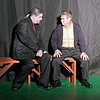 """Mark Maynard   for The Herald Bulletin<br /> In Anderson's Mainstage Theatre's production of """"Damn Yankees,"""" Mr. Applegate (Sean Smith) makes his pitch to middle-aged real estate agent Joe Boyd  (Ralph Sipes) that, in exchange for his soul, he will be turned into a """"long ball hitter"""" for the Washington Senators baseball team."""
