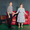 "Mark Maynard | for The Herald Bulletin<br /> Joe Boyd, in the form of Joe Hardy (Brandon Dubois), rents a room from in his home from his wife, Meg (Karen Sipes), in ""Damn Yankees."""