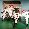 """Mark Maynard   for The Herald Bulletin<br /> Under the direction of news reporter Gloria Thorpe (KIrby Gilliam), the Washington Senatorse celebrate in song and dance their success now that """"Shoeless Joe from Hannibal, Mo."""" is on the team."""