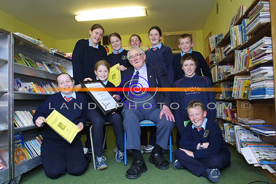 Dan Keane proudly presents  Ballyduff Central School with first prize in the Writers Week Schools Poetry competition sponsored by the Kerryman Newspaper, included are Mairead O Connor, Laura Cummings, Daniel O Sullivan, James O Callaghan Sarah Ross, Rebecca Cummings, Katie Burrell, Michelle Mc Kenna and Aidan O Caroll. Pic Brendan LAndy