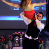 KEYC personality Stacey Steinhagen is lifted into the air by MSU theater and dance alum Travis Shafer during Saturday's Dancing With the Mankato Stars at the Kato Ballroom.