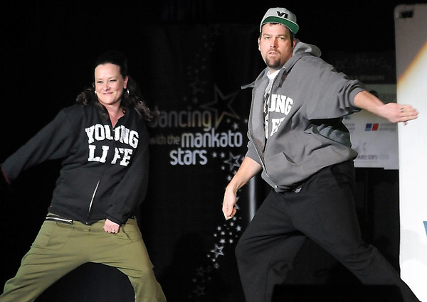 Pat Christman<br /> Travis Bowen and Meredith Martin dance during Dancing with the Mankato Stars Saturday at the Verizon Wireless Center.