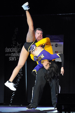 Pat Christman<br /> Minnesota State University Athletic Director Kevin Buisman flips his dance partner Tina Flewellyn during Dancing with the Mankato Stars Saturday. The pair won the people's choice award for their dance.