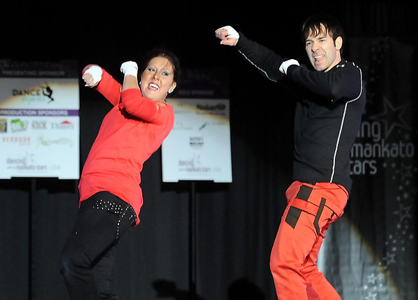 Pat Christman<br /> Dana Enfield and Wade Fischer dance during Dancing with the Mankato Stars Saturday at the Verizon Wireless Center. The couple won the judges choice award.