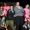 Pat Christman<br /> YoungLife leader Travis Bowen and Meredith Martin dance with a group of kids during Dancing with the Mankato Stars Saturday at the Verizon Wireless Center.
