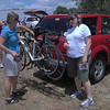 Kari and Deeann dropping off bikes for the race