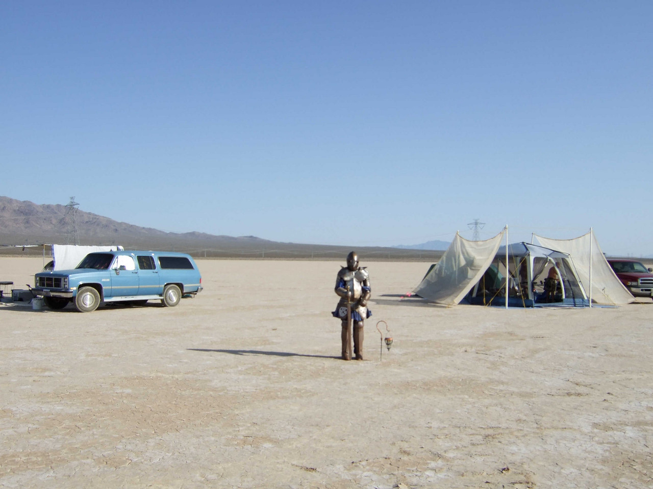 We camped near a knight in dusty armor.