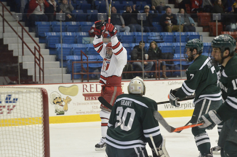 J.S.Carras/The Record Dartmouth against Rensselaer Polytechnic Institute during first period of ECAC Hockey first round play-off action Sunday, March 9, 2014 at Houston Field House in Troy, N.Y..