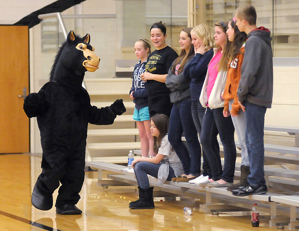 The Daleville Bronco mascot works the sidelines as the Broncos hosted the Wapahani Raiders on Thursday.