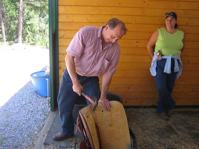 Fixing Sally's saddle!