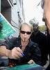 One of the great rock and roll frontmen of all-time, David Lee Roth signing for fans as he leaves his hotel in Philadelphia on the way to the Wachovia Center to play with Van Halen on their 2nd night of sold out shows during their reunion tour.