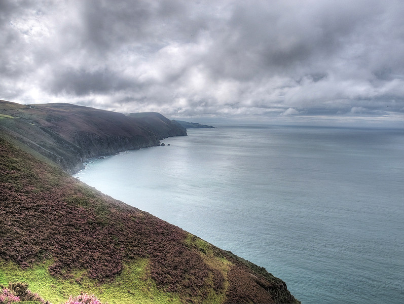 The view from High Cliff West towards The Great Hangman and Widmouth Head beyond..