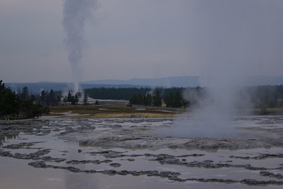 White Dome geyser going off in the background of Great Fountain geyser